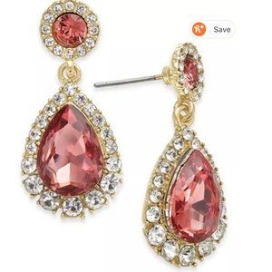 Prom Gold-Tone Crystal Teardrop Drop Earring